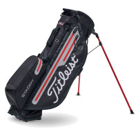 Titleist Players 4+ StaDry Waterproof Standbag, Schwarz / Grau / Rot
