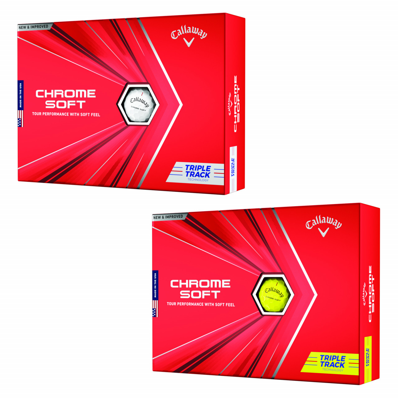 Bälle Callaway Chrome Soft Triple Track Golfbälle, 12 Stück