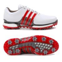 Adidas Tour 360 Boost 2.0 Herren Golfschuhe, Weiß / Rot / Silbergrau