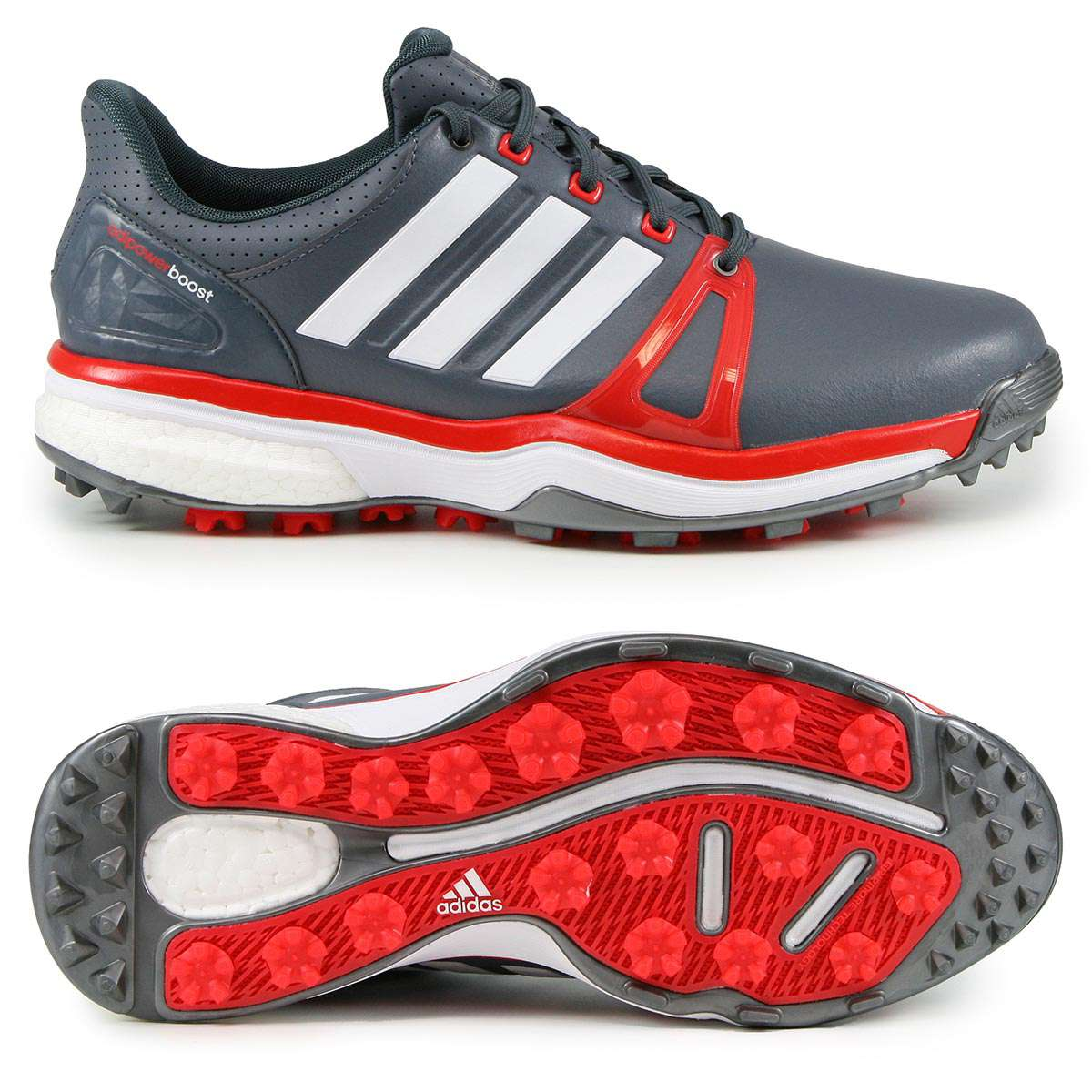 exclusive range best sneakers first rate Adidas adipower Boost 2 Herren Golfschuhe, WIDE, Dunkelgrau / Rot / Weiß