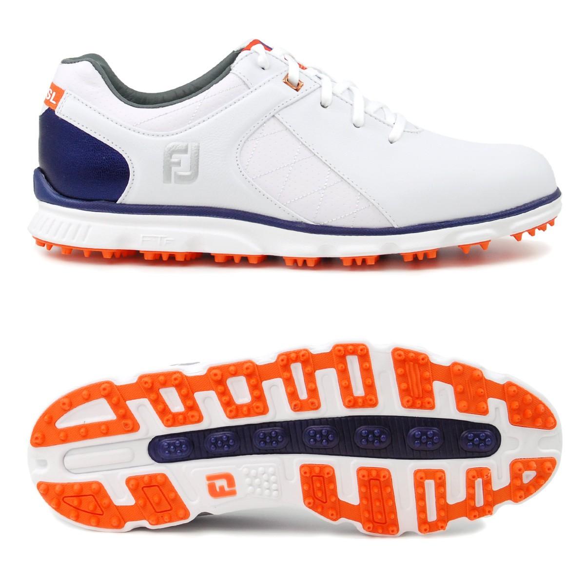 Golflaedchen.de FootJoy Pro SL Herren Golfschuhe, Weiß / Blau