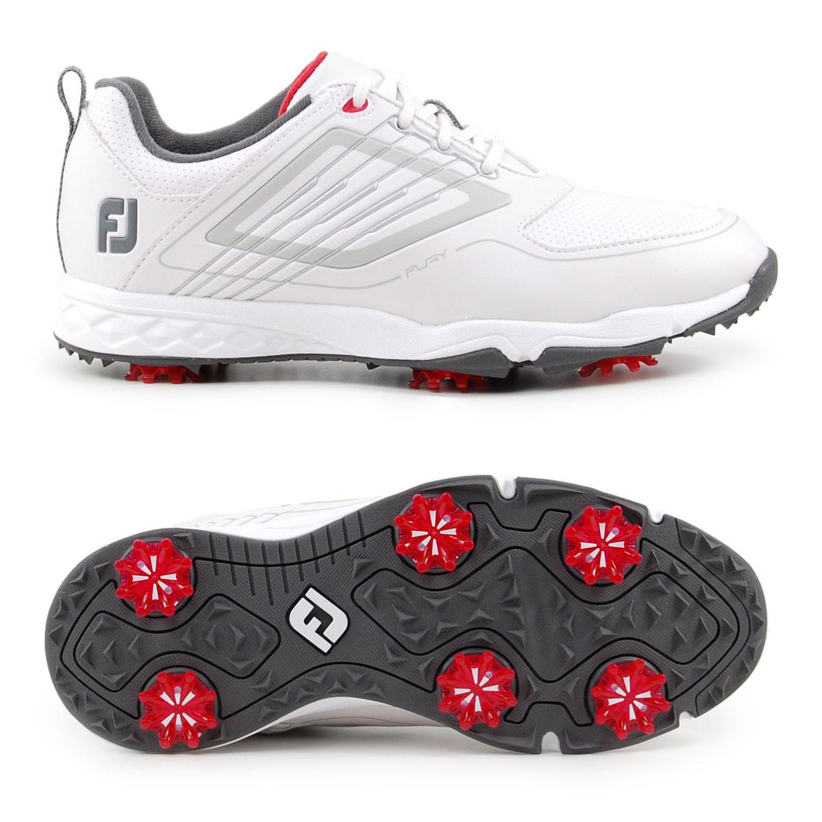 FootJoy Fury Junior Kinder Golfschuhe, Weiß / Silbergrau